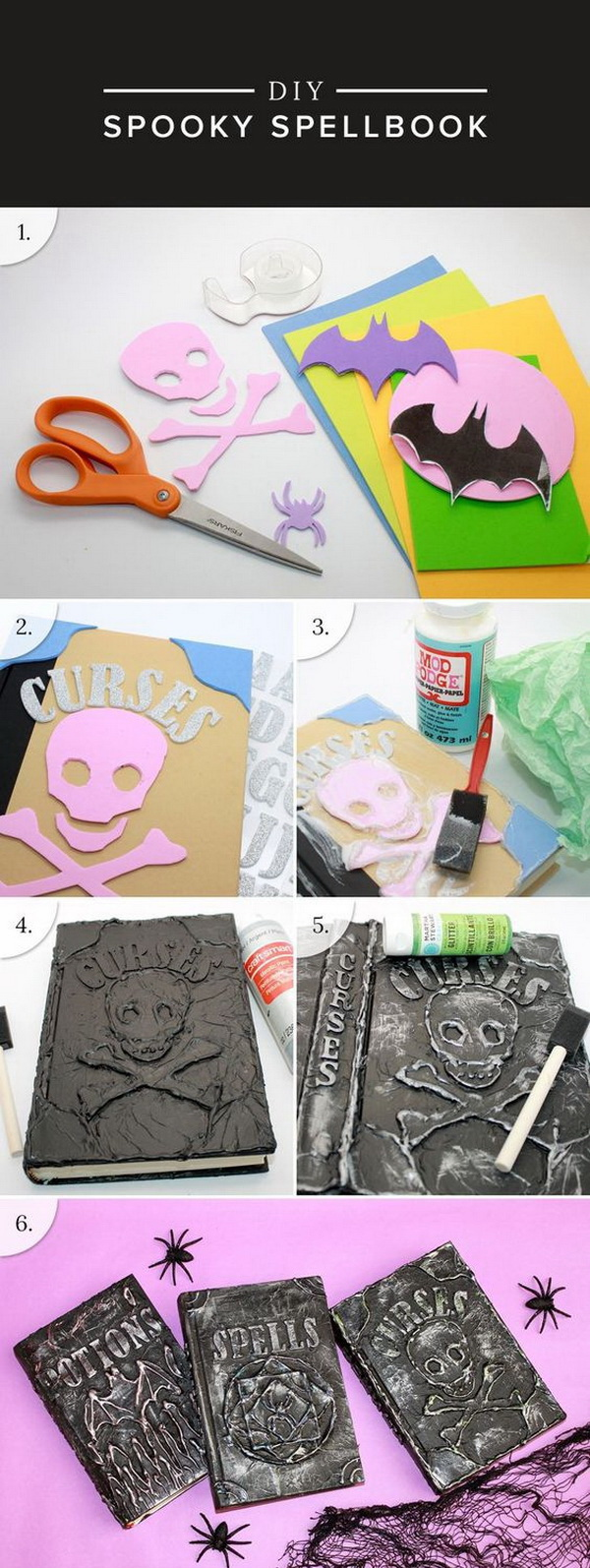DIY Halloween Spell Books. Recycle old books that you don't need into these DIY Spell Books! They will surely add a spooky touch to your Halloween decor.