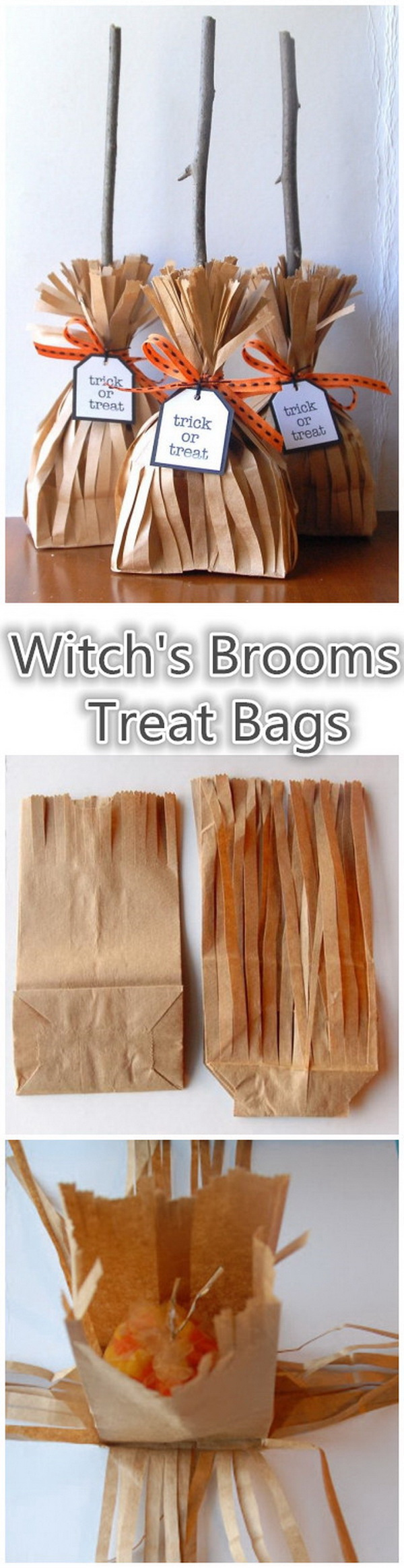 Witch's Brooms Treat Bags. Make these simple and unique gift bags for gifts for Halloween. These are just too cute!