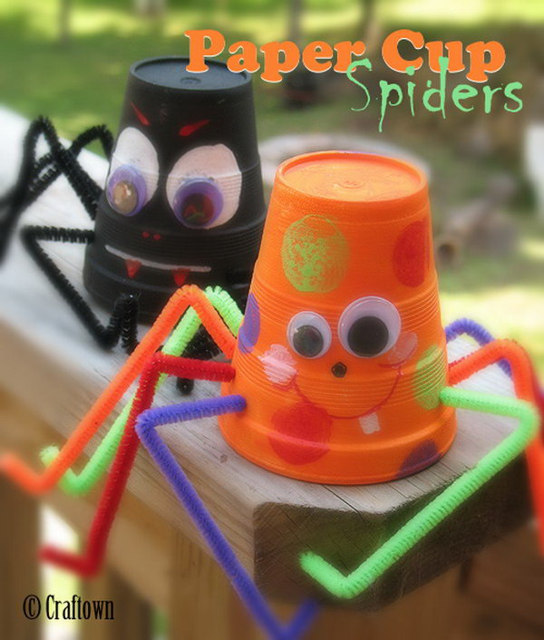 Cute Paper Cup Spiders. These spiders are made from paper or foam cups! They are so cute to put reward stickers in and hang in your home as a decoration. So easy for kids to make!