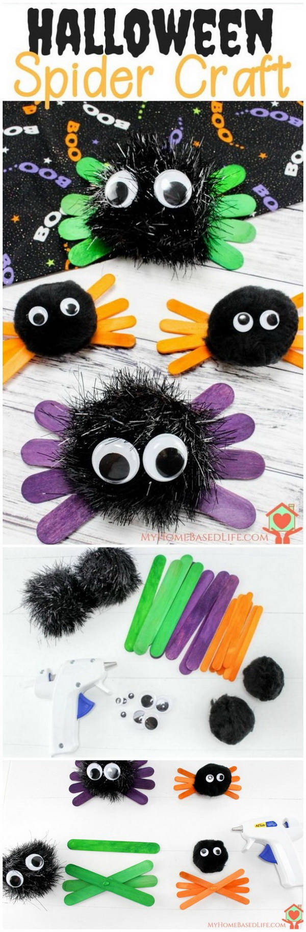 Halloween Spider Kids Craft. This halloween spider craft is super simple and only take a few materials to make in no time. Your little ones will have great fun making these scary spiders!
