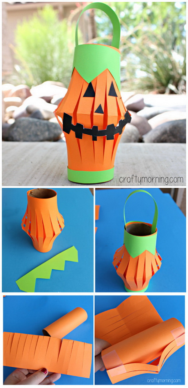 Toilet Paper Roll Pumpkin Lantern. Get your kids involved in this holiday and fall season with this cheap and easy art project! What you need are  a recycled toilet roll, paper, and tape.
