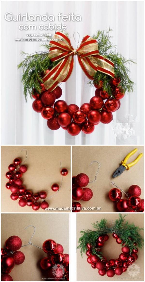 Christmas Wreath Made with Hanger & Christmas Balls .