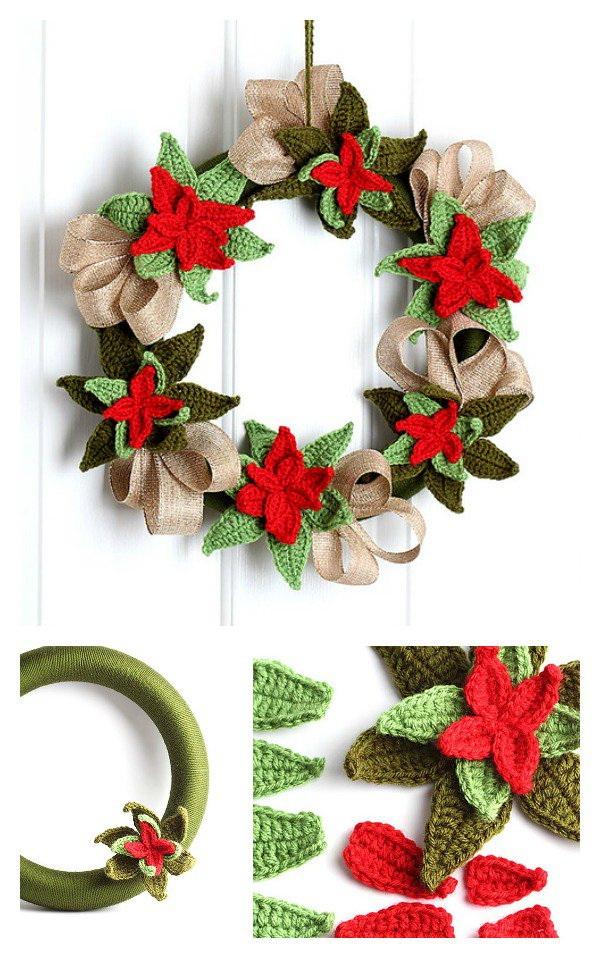 Christmas Poinsettia Wreath.