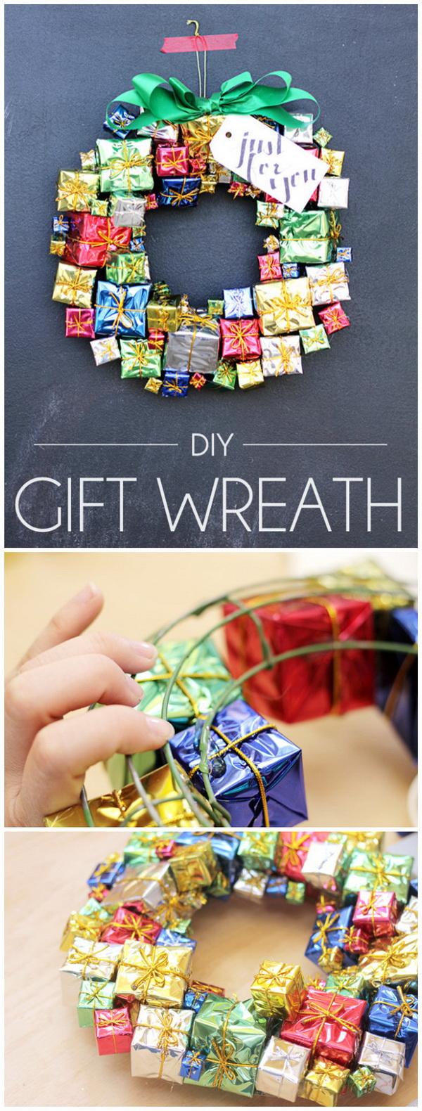 DIY Gift Box Christmas Wreath.