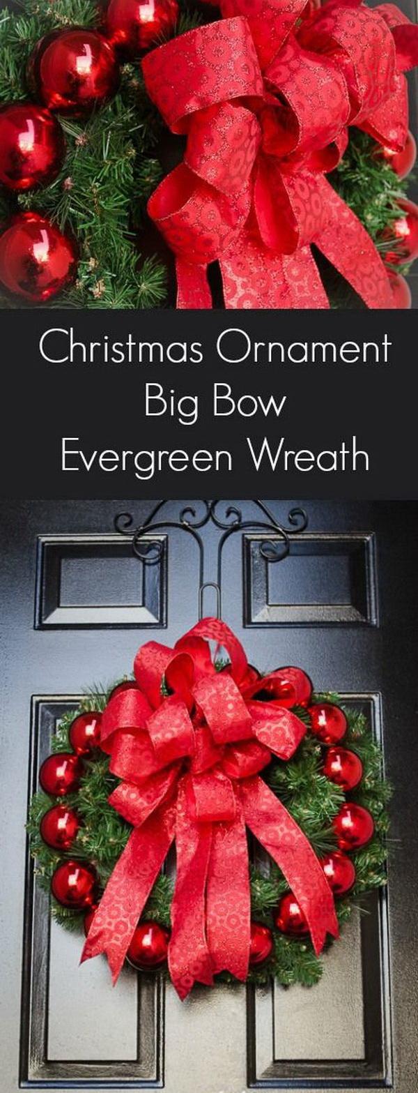 DIY Christmas Ornament Big Bow Evergreen Wreath.