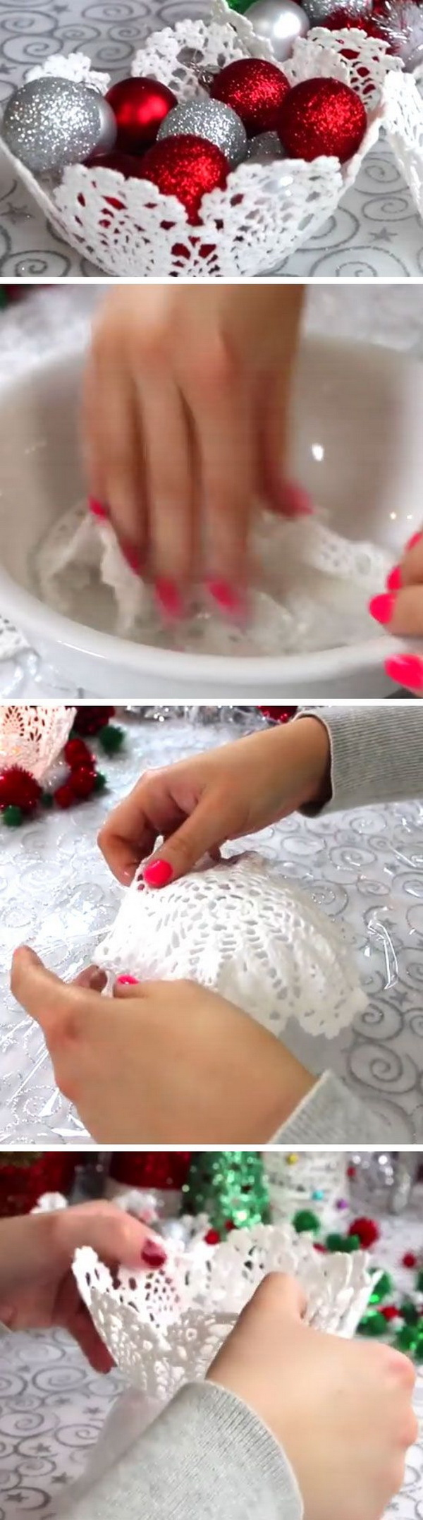 DIY Doily Baskets. Create a doily basket and fill it with some glitter holiday ornaments for decor!