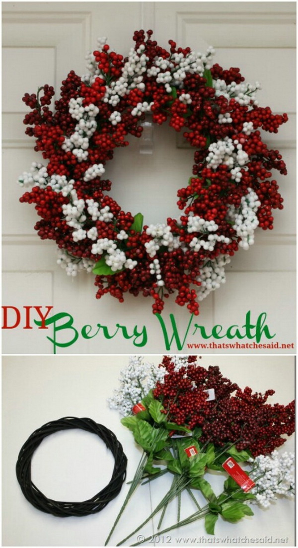 DIY Berry Wreath. Nothing better than a DIY wreath for your holiday decoration!