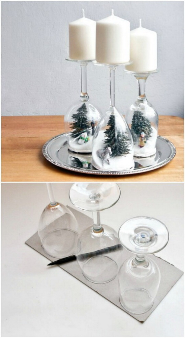 Wine Glass Holiday Dioramas. What you need for making these easy holiday dioramas are wine glasses, a box of sugar, and a few kitschy holiday figurines or even plastic ornaments.