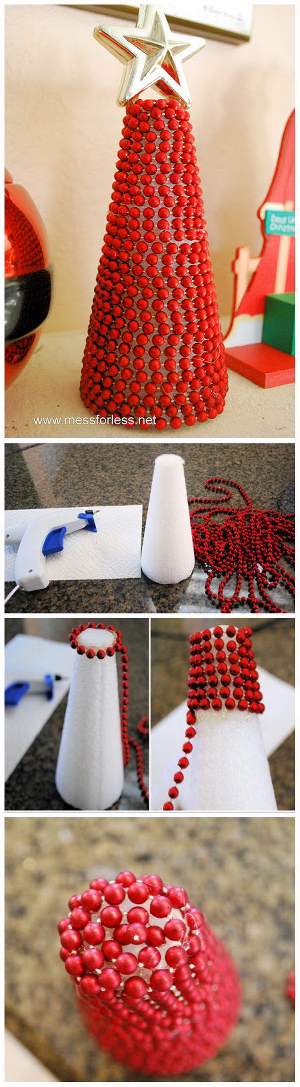 Beaded Garland Christmas Tree. This decorated cone is very easy to make and looks pretty cute.