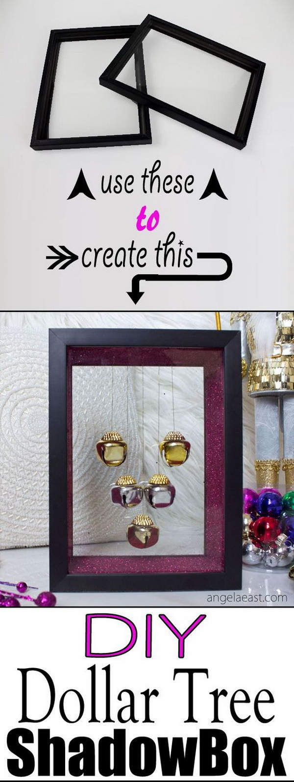 Jingle Bell Shadow Box. Create merriment and joy with a photo frame that includes jingle bells. Amazing holiday craft!
