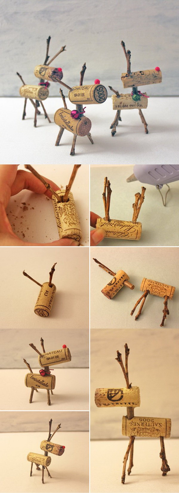 DIY Wine Cork Reindeers Ornaments. A great way to do with all those leftover wine corks!
