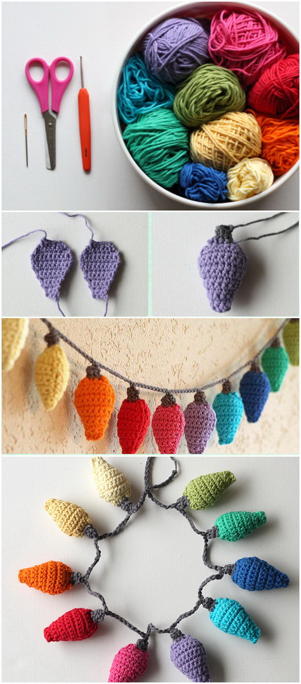 DIY Crochet Christmas Light Ornaments. These fun rainbow Christmas light bulbs are great as Christmas tree ornaments or strings of holiday bunting and garland.