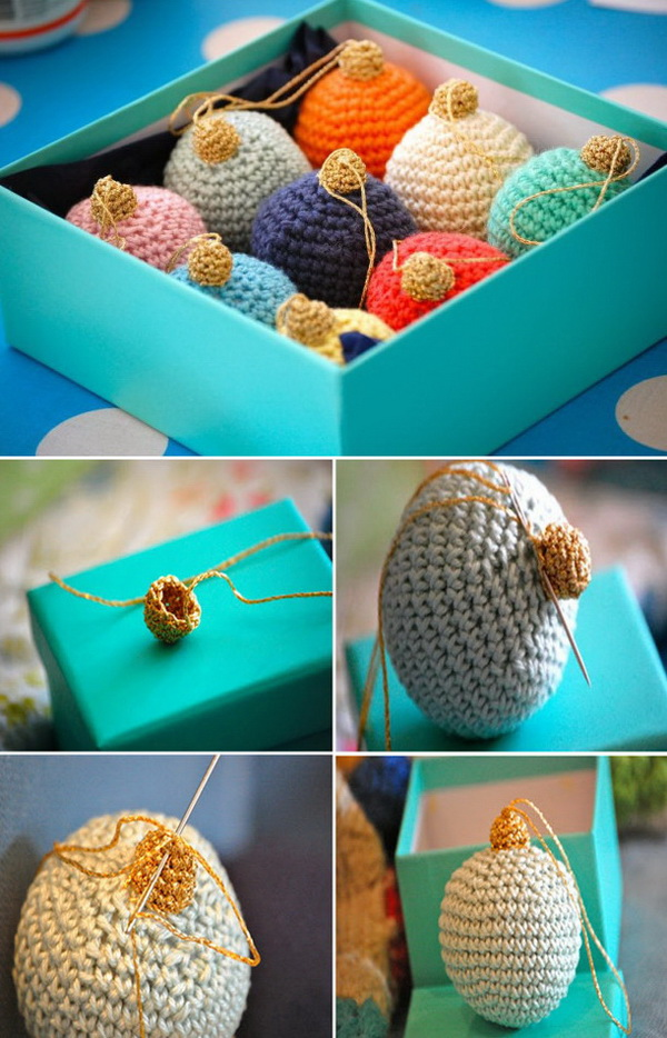 Christmas Bauble Ornaments. These colorful crochet bauble ornaments make great decorations! You can crochet more in  a lot of colors as you like and arrange them in a box as a table centerpiece or give as gifts!