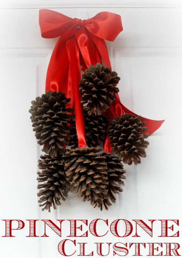 Pinecone Clusters With Red Ribbons.