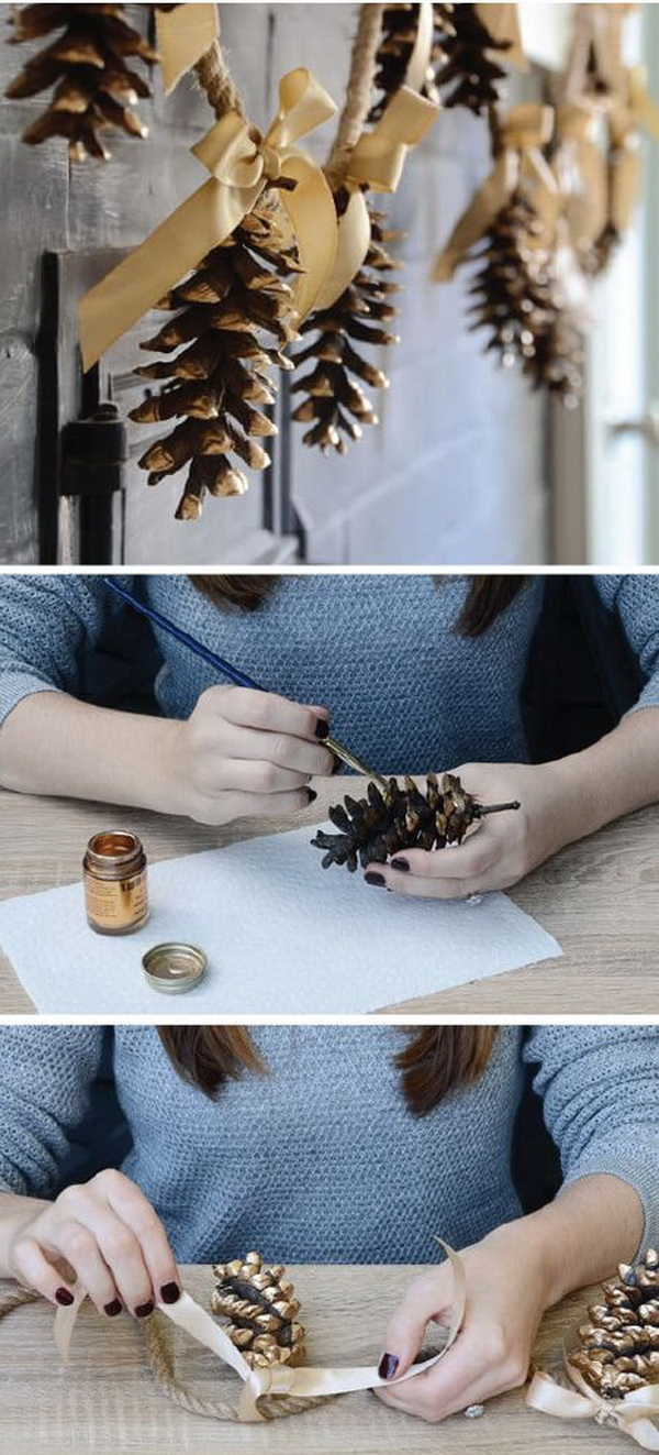 Pine Cone Garland with Ribbon.