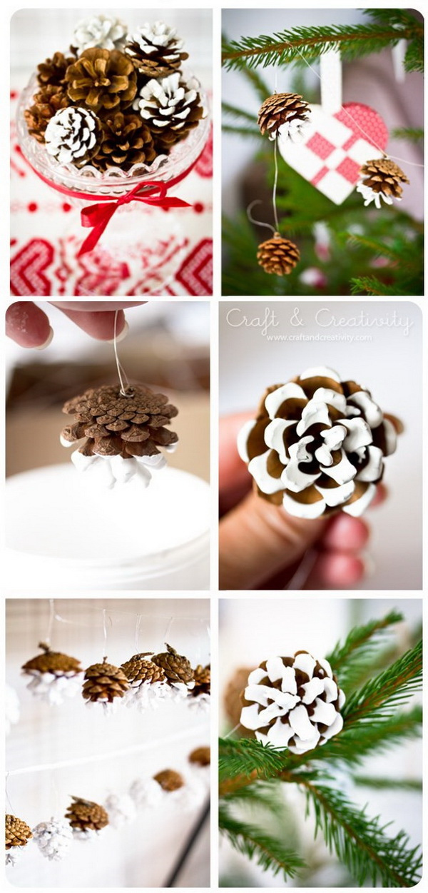 Painted Dipped Pine Cone Garland.