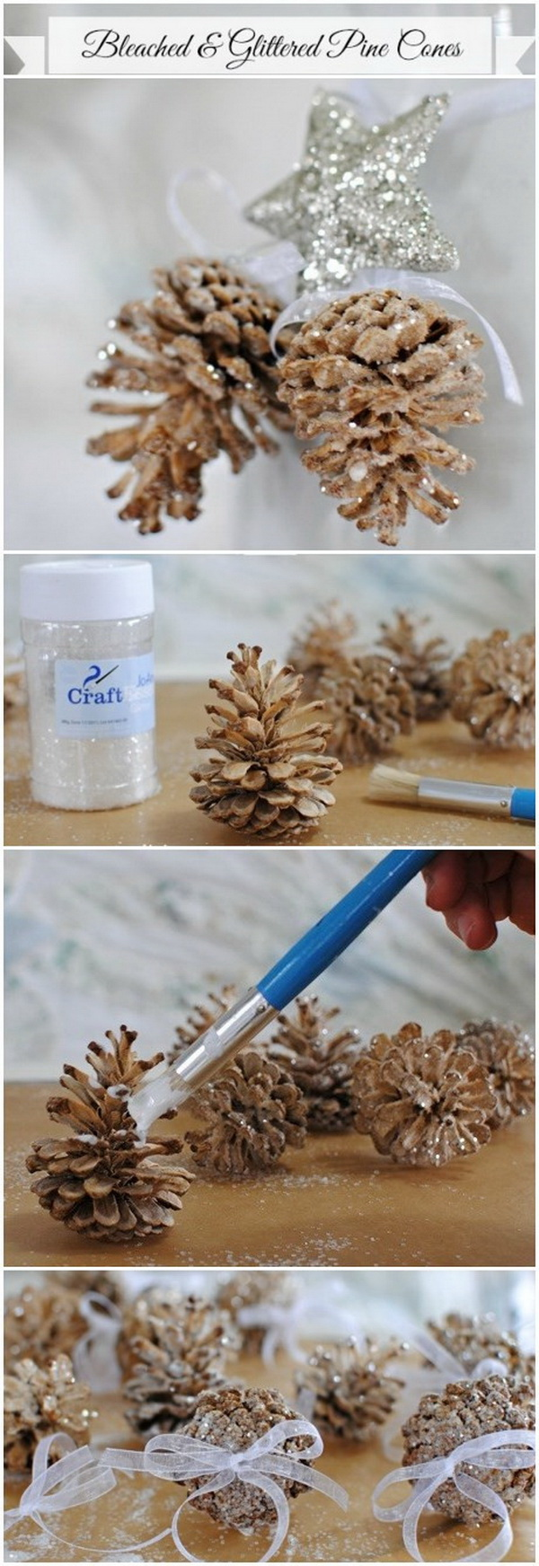 DIY Bleached and Glittered Pine Cone Ornaments.