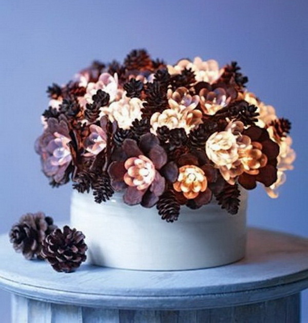 DIY Lighted Pinecone Arrangement.