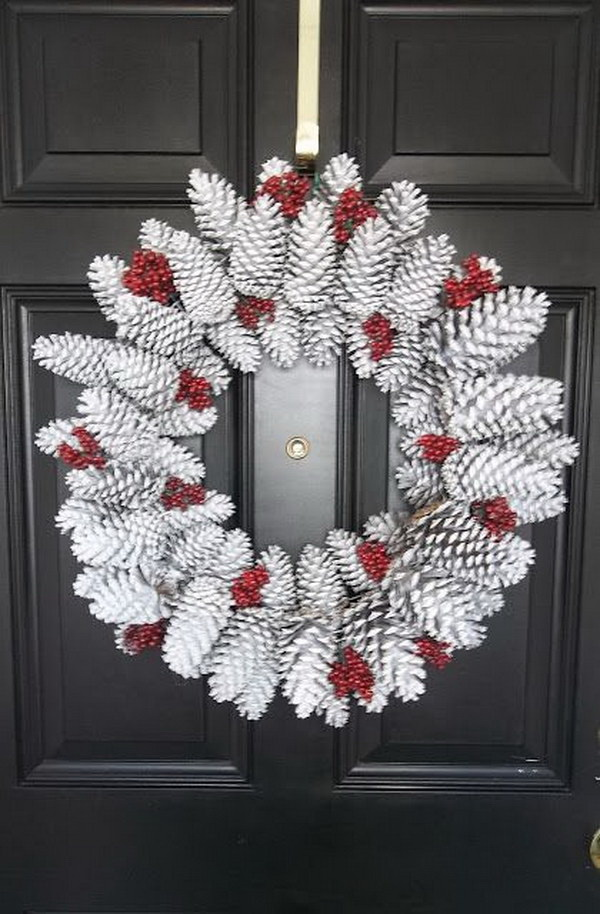 DIY Snowy Pinecone Wreath.