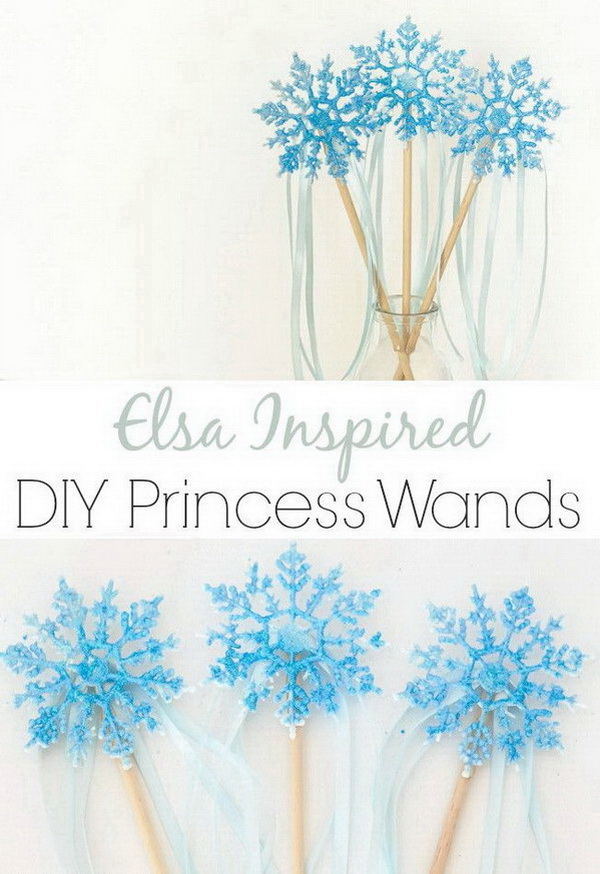 DIY Princess Elsa Inspired Wand. Cute Elsa wands made using snowflake ornaments, glue gun, fine craft Glitter, wooden dowel and ribbons. Simple to make!