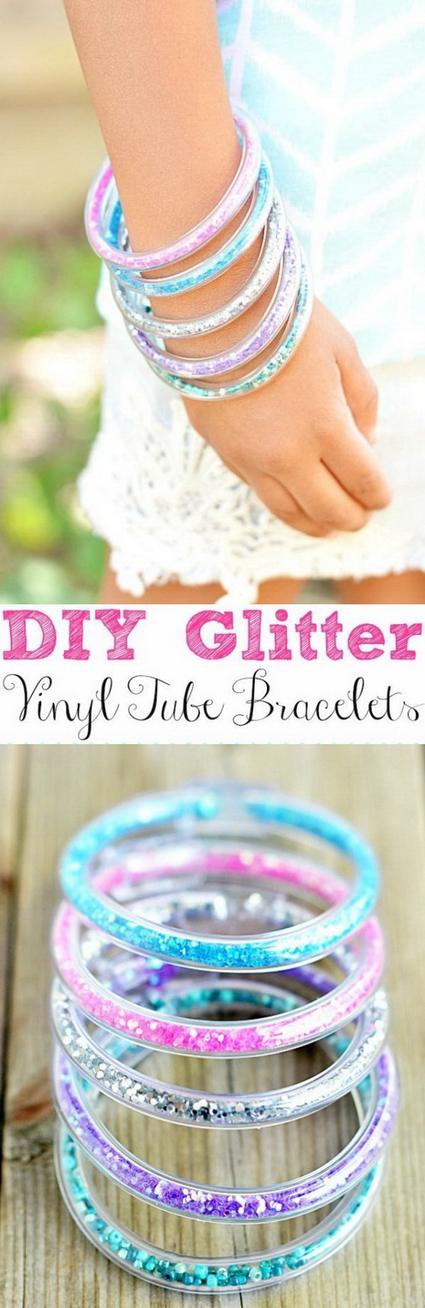 Glitter Vinyl Tube Bracelets. Adorn the little girls in your life with some princess-inspired glitter bracelets! And yes, you can make these all your own with  some vinyl tubing and glitter!