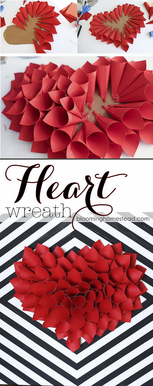 DIY Paper Heart Valentine's Day Wreath. DIY wreath always makes the great crafts and decorations for any holiday! This super easy and cute paper heart wreath is so simple to make and is a great addition to any Valentine's Day Decor!