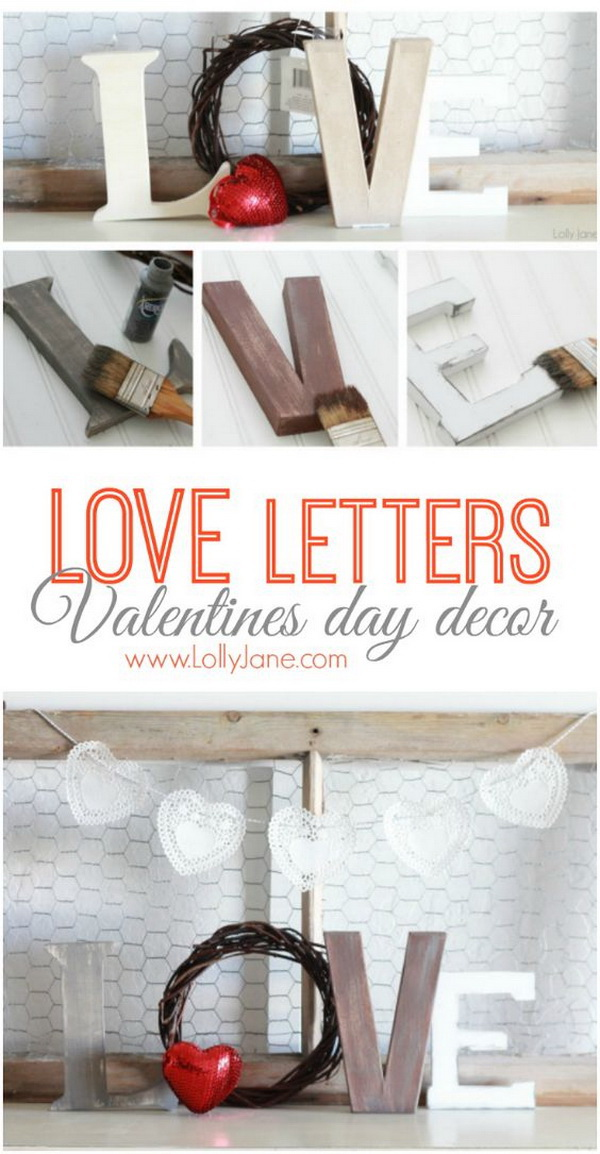 Valentine's Day Love Letters Mantel Decor.