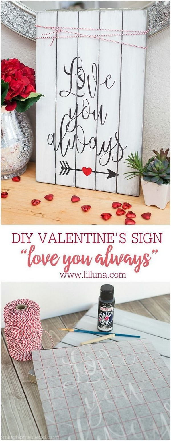 Love You Always Valentines Sign.