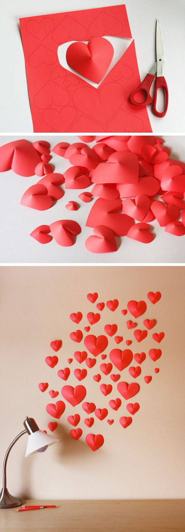 3D Paper Heart Valentine's Day Wall Decor.