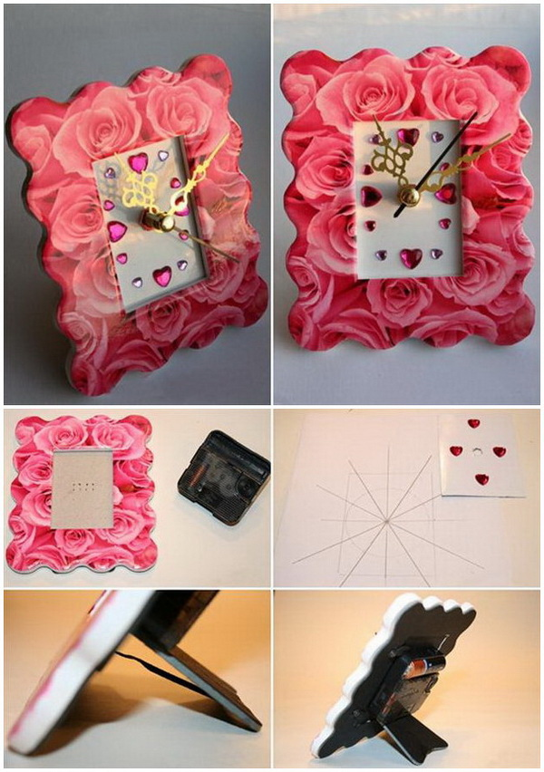 Roses Pattern Photo Frame Clock.