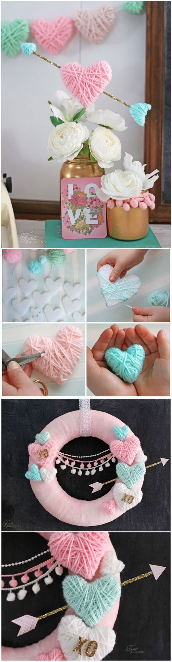 Valentine's Day Craft- Yarn Wrapped Hearts.