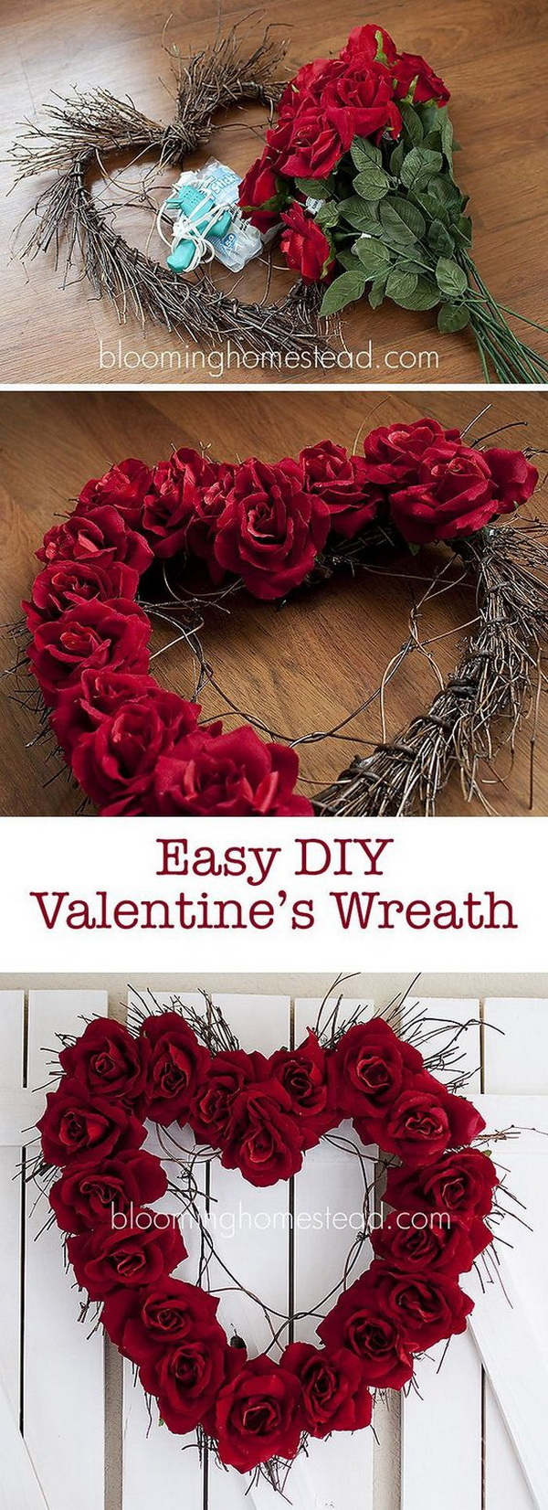 Easy DIY Valentine's Heart Wreath.