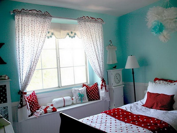 Teen Girl's Room in Red,Blue and White.