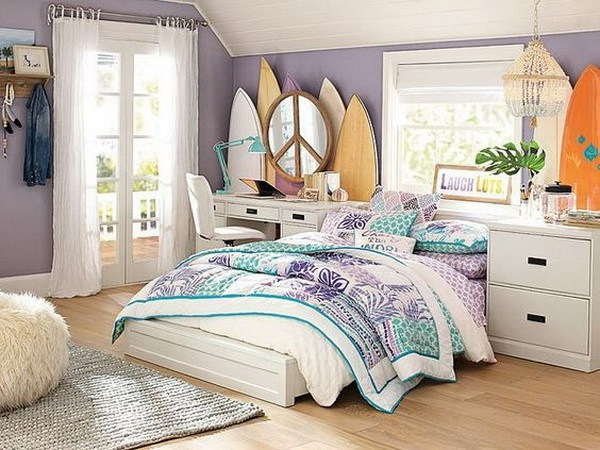 Floral Surf Boards in the Bedroom.